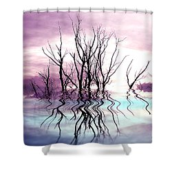 Shower Curtain featuring the photograph Dead Trees Colored Version by Susan Kinney