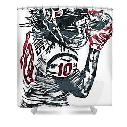 Shower Curtain featuring the mixed media Deandre Hopkins Houston Texans Pixel Art by Joe Hamilton