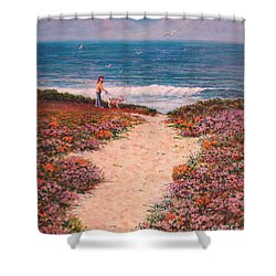Deanna And Bugsy At Half Moon Bay Shower Curtain by Dee Davis