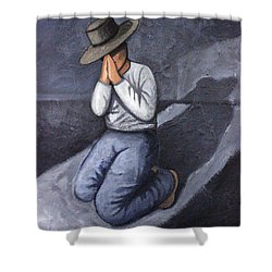 Shower Curtain featuring the painting Dear God 3 by Lance Headlee
