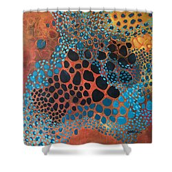 Shower Curtain featuring the painting Dear Sugar What Can I Learn From An Orange Sky? by Laurie Maves ART