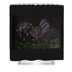 Dearest Bunny Eat The Clover And Let The Garden Be Shower Curtain by Dawn Fairies