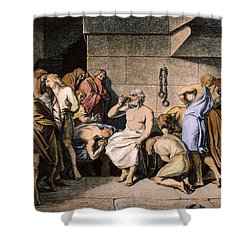 Death Of Socrates Shower Curtain by Granger