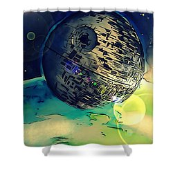 Death Star Illustration  Shower Curtain by Justin Moore
