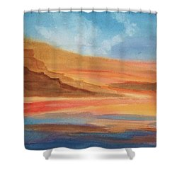 Shower Curtain featuring the painting Death Valley by Ellen Levinson