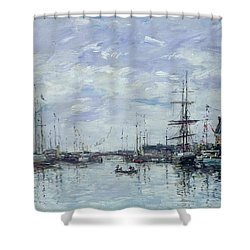 Deauville The Dock Shower Curtain by Eugene Louis Boudin