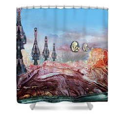 Decalcomaniac Transmission Towers Shower Curtain by Otto Rapp