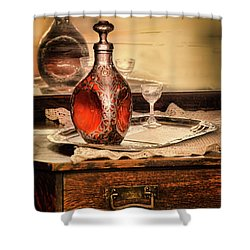 Shower Curtain featuring the photograph Decanter And Glass by Jill Battaglia