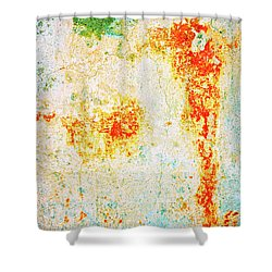 Shower Curtain featuring the photograph Decayed Wall With Orange Paint by Silvia Ganora