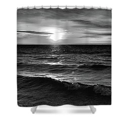 December 20-2016 Sunrise At Oro Station Bw  Shower Curtain by Lyle Crump