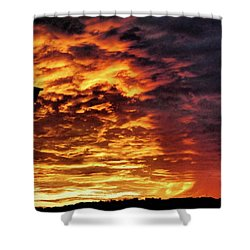 Shower Curtain featuring the painting December Austin Sunset  by Layne William LoMaglio