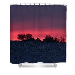 December Farm Sunset Shower Curtain