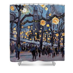 December Lights At The Our Lady Square Maastricht 1 Shower Curtain by Nop Briex