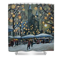 December Lights At The Our Lady Square Maastricht 2 Shower Curtain by Nop Briex