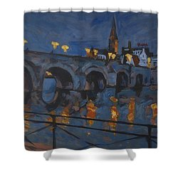 December Lights Old Bridge Maastricht Acryl Shower Curtain