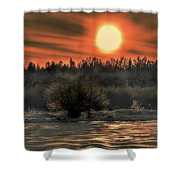 December Sun #f3 Shower Curtain by Leif Sohlman