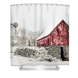Decked In White Shower Curtain by Nicki McManus