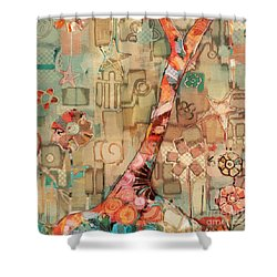 Shower Curtain featuring the painting Deco Tree by Carrie Joy Byrnes