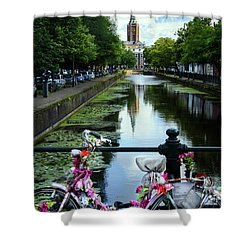 Shower Curtain featuring the photograph Canal And Decorated Bike In The Hague by RicardMN Photography