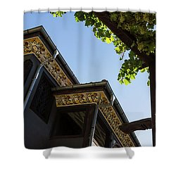 Decorated Eaves And Grapes Trellis - Old Town Plovdiv Bulgaria Shower Curtain by Georgia Mizuleva