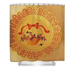 Decorated Plate With A Basket And Flowers Shower Curtain by Itzhak Richter