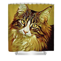 Shower Curtain featuring the digital art Decorative Digital Painting Maine Coon A71518 by Mas Art Studio