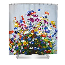 Shower Curtain featuring the painting Impressionist Wildflower Garden Painting A103017 by Mas Art Studio