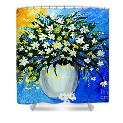 Shower Curtain featuring the painting Decorative Floral Acrylic Painting G62017 by Mas Art Studio