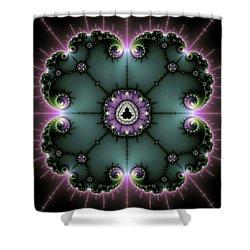 Shower Curtain featuring the digital art Decorative Fractal Art Purple And Green by Matthias Hauser