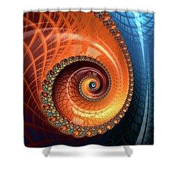 Shower Curtain featuring the digital art Decorative Fractal Spiral Orange Coral Blue by Matthias Hauser