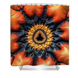 Shower Curtain featuring the digital art Decorative Mandelbrot Set Warm Tones by Matthias Hauser