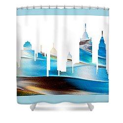 Decorative Skyline Abstract New York P1015a Shower Curtain
