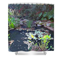 Shower Curtain featuring the photograph Decorative Pond At Dallastexas Condo by Merton Allen