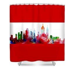 Decorative Skyline Abstract New York P1015c Shower Curtain