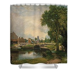 Dedham Lock And Mill Shower Curtain by John Constable