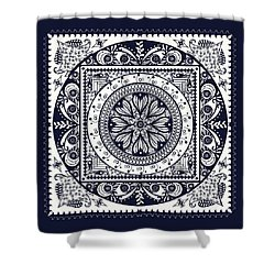 Deep Blue Classic Mandala Shower Curtain