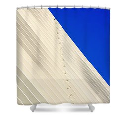 Deep Blue Sky And Office Building Wall Shower Curtain
