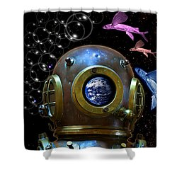 Deep Diver In Delirium Of Blue Dreams Shower Curtain