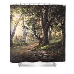 Deep Forest Rays  Shower Curtain