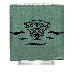 Shower Curtain featuring the digital art Deep Green Tribal Gator by Megan Dirsa-DuBois