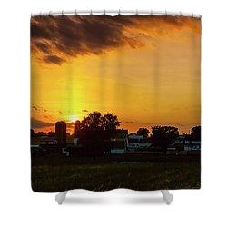 Deep Orange Farm Shower Curtain