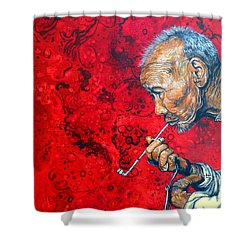 Shower Curtain featuring the painting Deep Thoughts by Tom Roderick