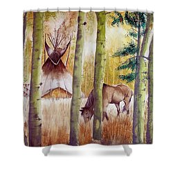 Deep Woods Camp Shower Curtain by Jimmy Smith