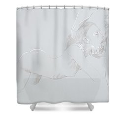 Shower Curtain featuring the mixed media Deepthroat by TortureLord Art