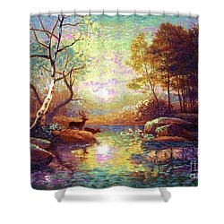 Deer And Dancing Shadows Shower Curtain