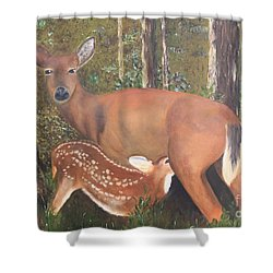 Shower Curtain featuring the painting Deer And Fawn by Peggy Borel