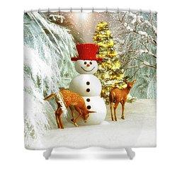 Deer And Snowman Shower Curtain