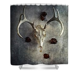 Deer Buck Skull With Fallen Leaves Shower Curtain