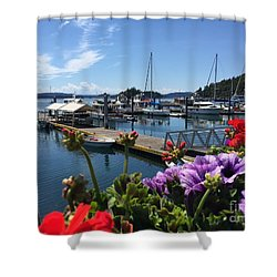 Deer Harbor By Day Shower Curtain by William Wyckoff