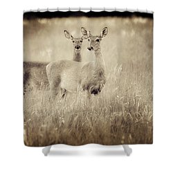 Deer In Sepia Shower Curtain